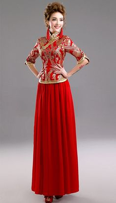 Elegant Full Length Red Chinese Wedding Dress Evening Gown with Half Sleeve - iDreamMart.com