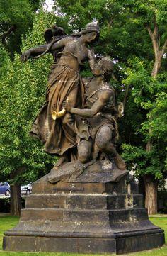 Sarka and Ctirad. June I knew their names from Ma Vlast composed by Smetana. Prague, Czech Tattoo, Czech Republic, Statues, Trips, Street Art, Lion Sculpture, June, Names