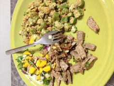 Fried okra carne asada and mango salsa. So random but so good #craving #paleo