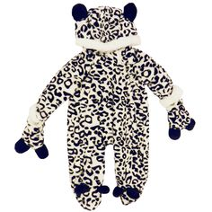 Halloween Super Soft & Thick Leopard Babies Snowsuits Black & White 0-12 Months www.babywearwholesale.com