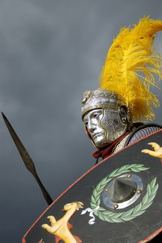 Detail of helmet and plumes of a Roman cavalryman during the Hippika Gymnasia. The Hippika Gymnasia were ritual displays or tournaments performed by the cavalry of the Roman Empire to display their skill and expertise.