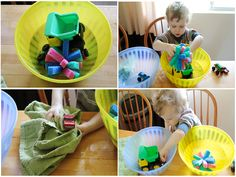 Water play for those rainy or just lazy days. Might do this in an empty bath instead of on the kitchen floor.