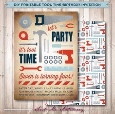 Mrmiss fixit tool party invitation set of by leslienashdesigns printable tool time handy man birthday by sendmestationery on etsy filmwisefo