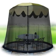 With the Umbrella Table Screen, you can have all the advantages of your own private screened in porch without a hefty price tag. The simple mesh design keeps all manner of bugs away from you and your
