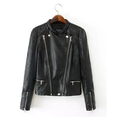 Faux #Leather Solid Color Stand Collar Long Sleeve Trendy Style Women's #Jacket