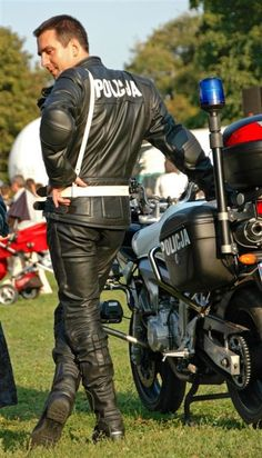 "cops-in-boots:  ""Polish motorcycle cop in leathers  """