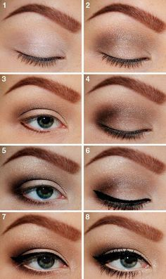 Natural Eye Shadow with Black Eyeliner and Long Lashes