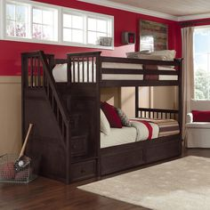 Make going to bed fun for your kids with this School House Stair Bunk from NE Kids. This bed features a staircase with built-in drawers and a rich chocolate color. With two twin beds, this bunk is great for shared bedrooms.