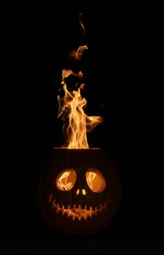 Flaming Halloween pumpkin
