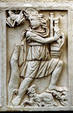 Detail of the sarcophagus of Cyriacus, showing Orpheus as good shepherd. Ostia.