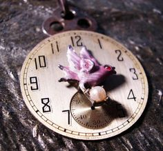 Steampunk Necklace Watch Face Bird by AmongTheRuins on Etsy, $53.00
