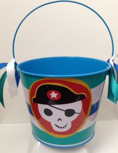 PIRATE THEME EASTER Bucket  Pirate  blue  by Partiesandpastries Cute Easter Buckets now available in our Etsy Shop! Themes include Zebra Print, Jungle Safari, Outer Space, and Pirates! We have limited quantities, so order early!! $10