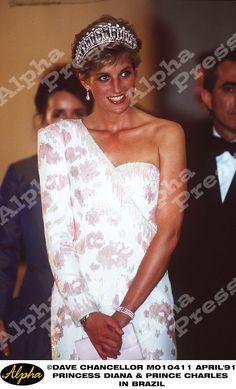 April 23, 1993:  Princess Diana at a banquet at the Itamaraty Place, Brazil.
