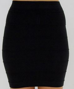 Look what I found on #zulily! Black Line-Texture Skirt #zulilyfinds