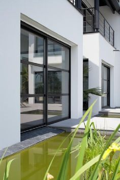 Coulissant alu couleur noir biotite Balcony, Sarl, Pose, Sweet Home, Exterior, House Design, Windows, Architecture, Home Decor