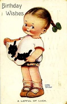"""Vintage Illustration Mabel Lucie Attwell Postcard """"A Lapful of Luck"""" Girl with Two Kittens 1925 Vintage Birthday Cards, Vintage Greeting Cards, Vintage Valentines, Vintage Postcards, Vintage Pictures, Vintage Images, Vintage Abbildungen, Illustrations Vintage, Drawing For Kids"""