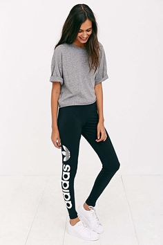 26c0510e9ba8 Slouchy gray tee  amp  joggers...yes please! Addidas Leggings Outfit