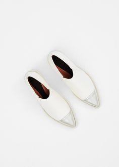Marni Metal Toe Loafer in White #totokaelo #marni #leather #shoes