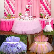 Tutu Tulle Table Skirts Baby Shower Decoration for High Chair Home Textiles Party Supplies Pink Blue Event Party Supplies(China)