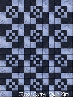 Amish Boxes Prim Patchwork Pattern Blue Black Fabric Fast Easy Make Pre-Cut Quilt Blocks Top Kit Quilting Squares Pieces Material