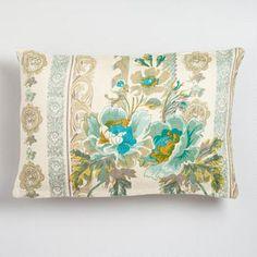 Blue Floral Herringbone Lumbar Throw Pillow