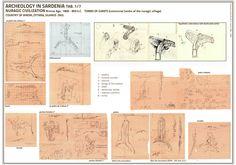 Scheda archeologica di una tomba dei giganti... Giant tomb in Sardinia  ideal reconstruction made by Francesco Carta...
