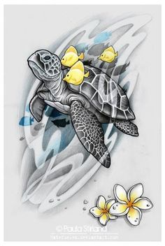 Yellow Fish and Gray Turtle Tattoo by Hatefueled - Trend Tattoo Styles Hawaiian Turtle Tattoos, Hawaiian Sea Turtle, Sea Turtle Art, Sea Turtle Tattoos, Sea Turtle Painting, Sea Life Tattoos, Body Art Tattoos, Wrist Tattoos, Tattoo Tortuga