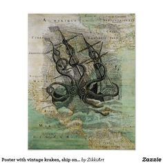 Poster with vintage kraken, ship on the map #hq  #old #book #illustration #gravure #decor #digital #collage  #quality  #inspiration #retro #antique #vintage  #draw #drawing  #black #white #poster #wallart #map #paper #walldecor #walldesign #placard #banner #billboard