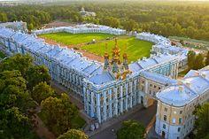 Aerial view Catherine's Rococo Palace. Екатерининский дворец, Tsarskoye Selo (Pushkin), St. Petersburg, Russia.