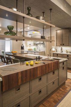 Condo Kitchen Taupe Tops Shelves Reno