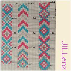 Risultati immagini per beaded pattern loom Loom Bracelet Patterns, Seed Bead Patterns, Bead Loom Bracelets, Beaded Jewelry Patterns, Beading Patterns, Crochet Patterns, Mosaic Patterns, Inkle Weaving, Bead Weaving