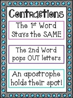 Comes with: - Contraction Anchor Chart - 4 Game Boards - 20 contraction pairs… Teaching Grammar, Grammar Lessons, Teaching Writing, Student Teaching, Teaching Boys, Kids Writing, Teaching Spanish, Creative Writing, 2nd Grade Grammar