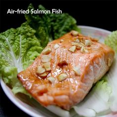 """Marinate the salmon fish with garlic and soy sauce. Airfry at 180 degrees celcius for 10 minutes. The fish will cook in its own oil. Thanks to """"Airfryer in an Asian kitchen! Air Fyer Recipes, Power Air Fryer Recipes, Air Fryer Fish Recipes, Cooking Recipes, Healthy Recipes, Cat Recipes, Healthy Kids, Actifry Recipes, Chicken"""