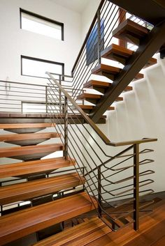 The Street Home is a contemporary home that design/builder Steve Lazar of Lazar Design+Build, designed for his family in Manhattan Beach, California. Building Design, Building A House, Open Stairs, Floating Stairs, Stair Handrail, Railings, Street House, House Stairs, Staircase Design