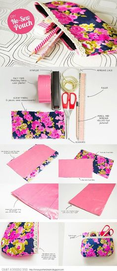 Craft A Doodle Doo: Pretty Me Up// No-Sew Pretty Pouch DIY: duct tape lining