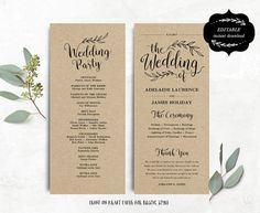 With Map Hearts  Cut Out Printable Wedding Program Template