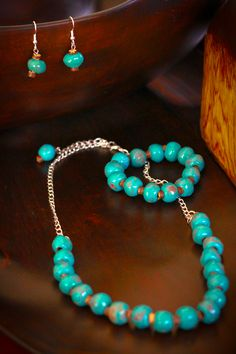 Beautiful Teal Jewelry from Haitian Clay