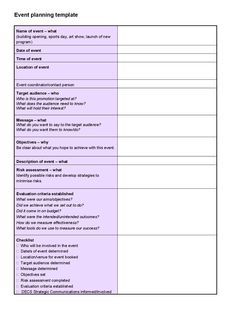 party planner template | Event Planning Budget, Excel | The Bible ...