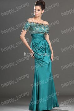 Modern Off the Shoulder Elastic Satin Ruffle Long Mother of The Bride Dresses Dress Short Sleeves. DH Gate. $170 USD incl. shipping by EMS.