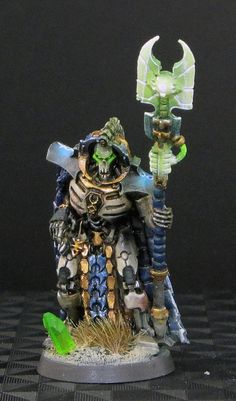 Warhammer 40k Necrons, Trazyn the Infinite - I especially like the lighting on the shoulder runes and staff