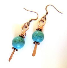 Turquoise Magnesite and Copper Earrings #boho jewelry