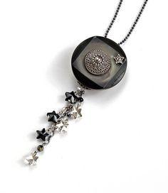 Vintage Button Necklace Swarovski Crystal by PrettyLittleThorn