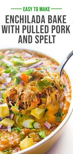 This cheesy enchilada bake is made with tender pulled pork, black beans, chewy spelt and loads of veggies. Perfect for feeding a crowd! Best Comfort Food, Comfort Foods, Cheesy Enchiladas, Enchilada Bake, Mexican Appetizers, Lunches And Dinners, Kitchen Recipes, Pulled Pork, Black Beans