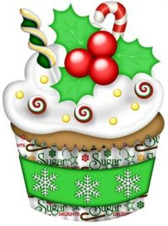 Christmas decorated cupcake (35 pieces) Christmas Rock, All Things Christmas, Christmas Crafts, Christmas Decorations, Christmas Artwork, Christmas Drawing, Christmas Pictures, Christmas Graphics, Christmas Clipart