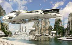 Обои будущее, вид, космический корабль картинки на рабочий стол, раздел фантастика - скачать