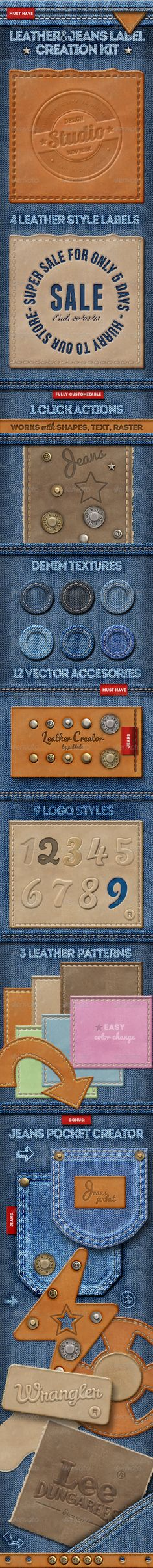 Leather Jeans Label Photoshop Creator
