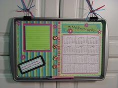 cookie sheet calendar/organizer