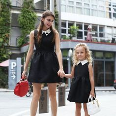black and white matching mom girl dresses with no sleeves #Momdaughteroutfits #Motherdaughteroutfits #Matchingmotherdaughteroutfits #Outfits