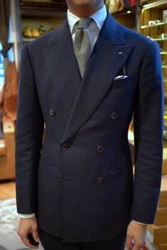 "lnsee: Double-Breasted by WW Chan Liverano & Liverano White Oxford Shirt Drake's Cashmere Gray Tie WW Chan Double Breasted in ""Alan"" Blue (Holland & Sherry Crispaire 339053)"