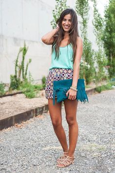 Shop this look on Kaleidoscope (skirt, tank, clutch, sandals)  http://kalei.do/WDB9IDSvBdZlGwve